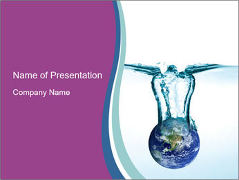 Earth Falling in Pure Water PowerPoint Template