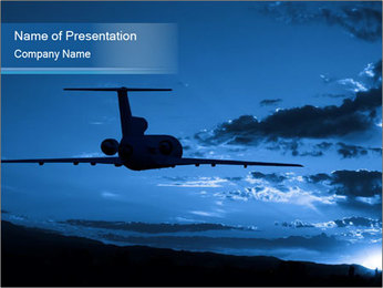 Jet Airplane High In The Sky PowerPoint Template