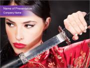 Woman Fighting with Katana PowerPoint Templates