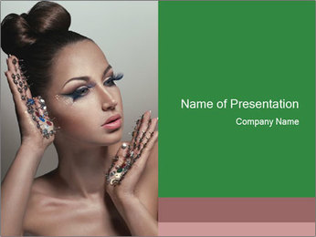 Woman in Fashionable Jewelry PowerPoint Template
