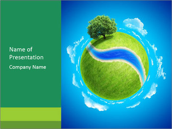 3D Green Meadow PowerPoint Template