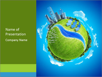Eco Pnater in Blue Sky PowerPoint Template