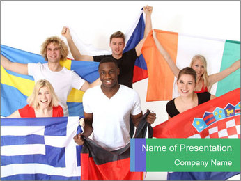 International Students with Flags PowerPoint Template
