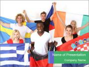 International Students with Flags PowerPoint Templates