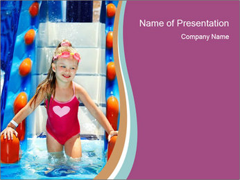 Small Girl in Aqua Park PowerPoint Template