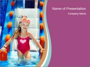 Small Girl in Aqua Park PowerPoint Templates