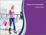 Woman Carries Purchases PowerPoint Templates