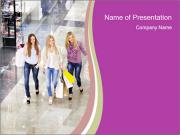 Young Ladies Shopping in the Mall PowerPoint Templates