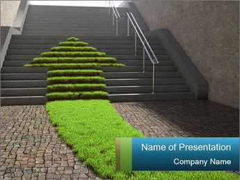 Stairway with Grass Arrow PowerPoint Template