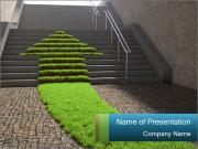 Stairway with Grass Arrow PowerPoint Templates