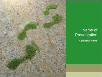 Human Footrpints Made of Grass PowerPoint Template