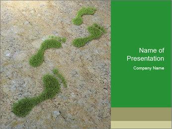 Human Footrpints Made of Grass PowerPoint Template