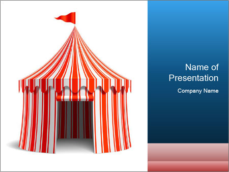 Red And White Circus Tent PowerPoint Template