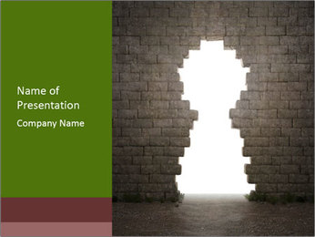 Keyhole in Bricked Wall PowerPoint Template