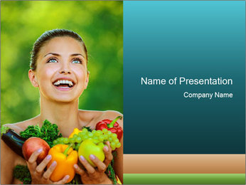 Woman Loves Organic Food PowerPoint Template
