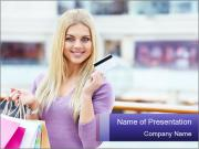 Woman Shopping with Credit Card PowerPoint Templates