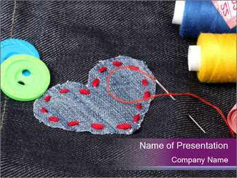 Cute Heart Patch PowerPoint Template
