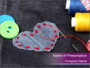 Cute Heart Patch PowerPoint Templates