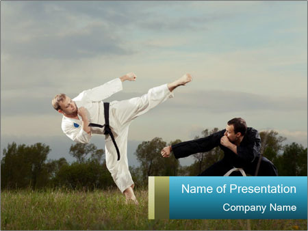 two karate masters outdoors powerpoint template & backgrounds id, Presentation templates