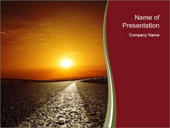 Red Sunset Over Empty Road PowerPoint Template