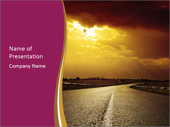 Golden Sunset on the Road PowerPoint Template