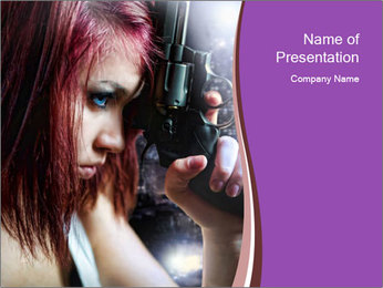 Actress with Gun PowerPoint Template