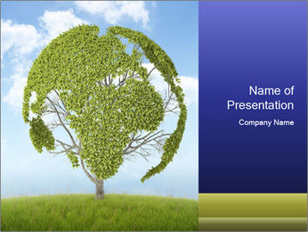Green Tree Forming Planet PowerPoint Template