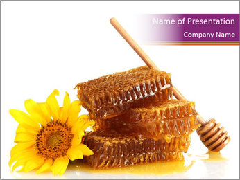 Organic Honey Decorated with Sunflower PowerPoint Template