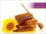 Organic Honey Decorated with Sunflower PowerPoint Templates