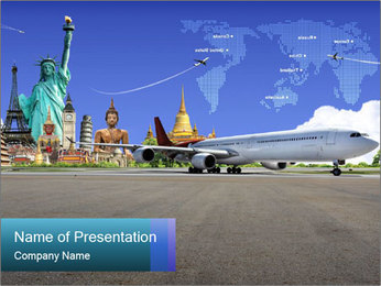 Travel Worldwide by Plane PowerPoint Template