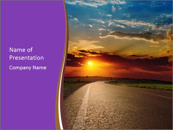 Red Sunset over Road PowerPoint Template