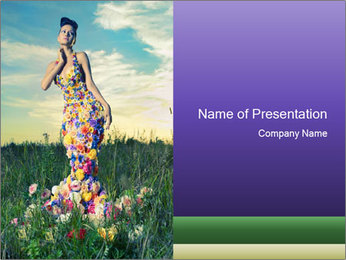 Fashion Lady in Floral Dress PowerPoint Template
