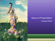 Fashion Lady in Floral Dress PowerPoint Templates