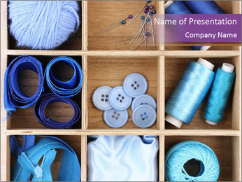 Blue Sewing Accessories PowerPoint Template