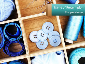 Box with Sewing Materials PowerPoint Template