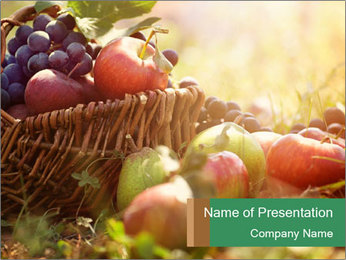 Busket with Organic Fruits PowerPoint Template
