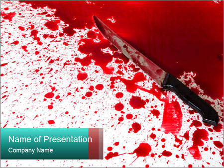 bloody knife powerpoint template & backgrounds id 0000019881, Modern powerpoint