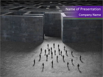 Small People Go into Huge Maze PowerPoint Template