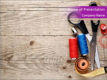 Simple Sewing Accessories PowerPoint Template