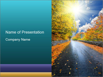 Yellow Leaves Falling to Road PowerPoint Template