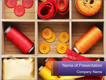 Wooden Box with Sewing Utensils PowerPoint Template