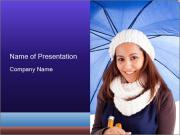 Cute Girl with Umbrella PowerPoint Templates