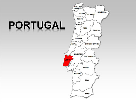power point mapa portugal Portugal Maps for PowerPoint   download at SmileTemplates.com power point mapa portugal