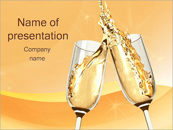 Two Champagne Glasses PowerPoint Template