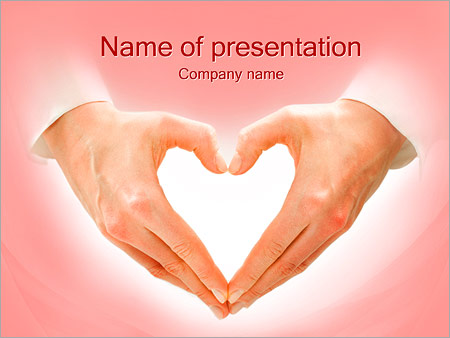 Hands And Heart Powerpoint Template Backgrounds Id 0000002086