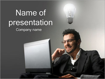 Businessman Having an Idea PowerPoint Template