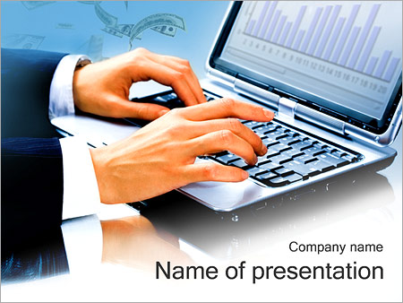 Businessman Typing Document PowerPoint Template