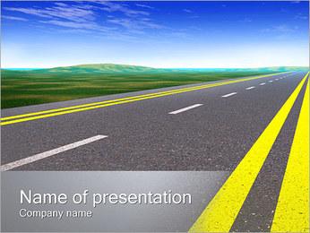 Weg van het asfalt Sjablonen PowerPoint presentatie