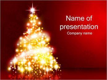 Сияющий Рождественская елка Шаблоны презентаций PowerPoint
