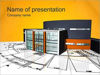 Plano de casa moderna Modelos de apresentações PowerPoint - Slide 1